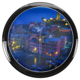 Europe, Italy, Cinque Terre, Vernazza. Hillside Fish Tank Clocks