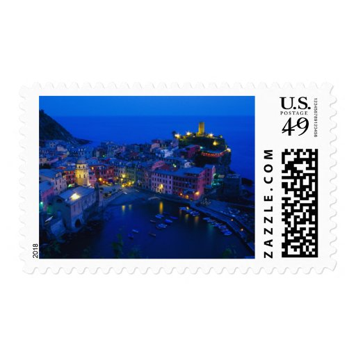 Europe, Italy, Cinque Terre, Vernazza. Hillside Stamps