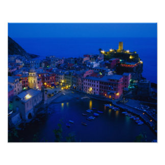 Europe, Italy, Cinque Terre, Vernazza. Hillside Poster