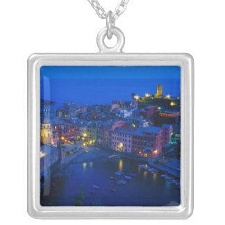 Europe, Italy, Cinque Terre, Vernazza. Hillside Square Pendant Necklace