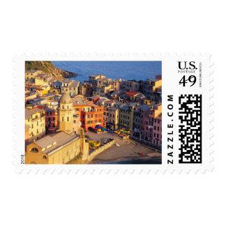 Europe, Italy, Cinque Terre. Village of Vernazza Postage