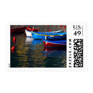 Europe, Italy, Cinque Terry, boats in Vernazza Postage Stamp