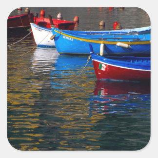 Europe, Italy, Cinque Terry, boats in Vernazza Square Sticker