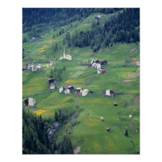 Europe, Italy, Dolomite Alps. This tiny village Poster