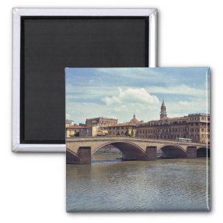 Europe, Italy, Florence. The Arno River flows 2 Inch Square Magnet