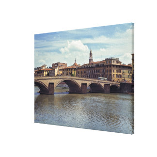 Europe, Italy, Florence. The Arno River flows Canvas Print