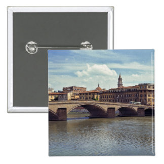 Europe, Italy, Florence. The Arno River flows Pinback Button