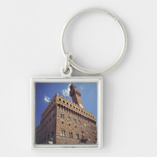 Europe, Italy, Florence. The medieval Plazzo Silver-Colored Square Keychain