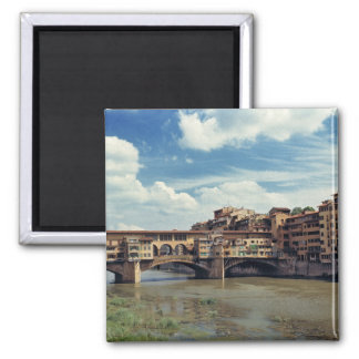 Europe, Italy, Florence. The Ponte Vecchio 2 Inch Square Magnet
