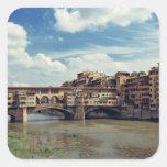 Europe, Italy, Florence. The Ponte Vecchio Square Sticker