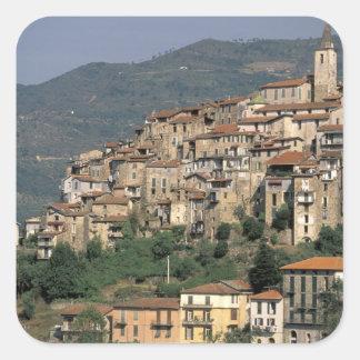 Europe, Italy, Liguria, Apricale. Riviera Di Square Sticker
