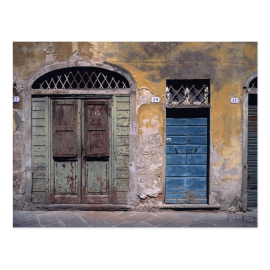 Europe, Italy, Lucca. These old doors add Postcard