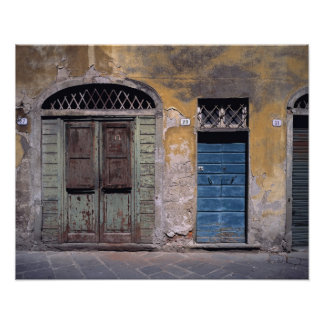 Europe, Italy, Lucca. These old doors add Poster