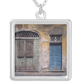 Europe, Italy, Lucca. These old doors add Silver Plated Necklace