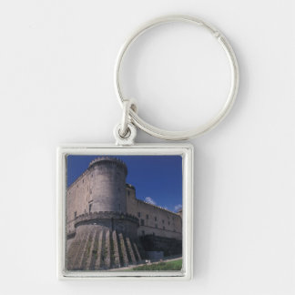 Europe, Italy, Naples, Castle Nuovo Silver-Colored Square Keychain