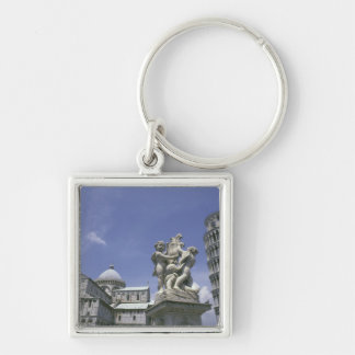 Europe, Italy, Pisa, Leaning Tower of Pisa Silver-Colored Square Keychain