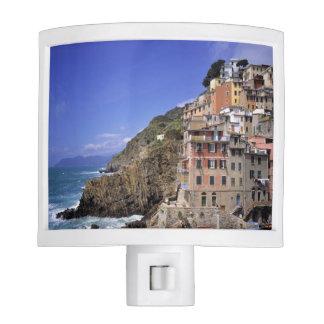 Europe, Italy, Riomaggiore. Riomaggiore is built Night Lights