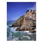 Europe, Italy, Riomaggiore. Riomaggiore is built Postcard