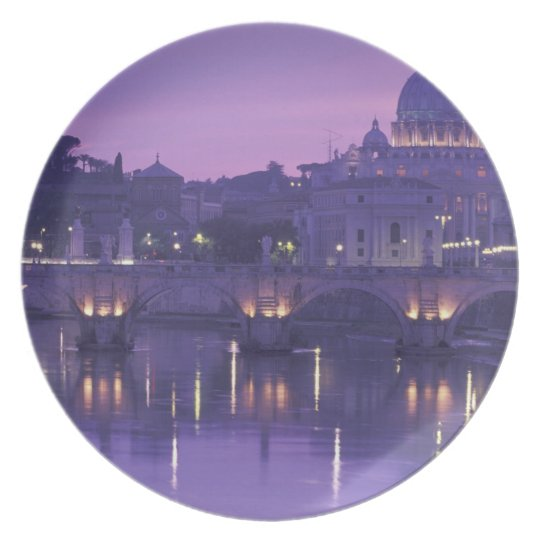 Europe, Italy, Rome. St. Peter's and Ponte Sant Melamine Plate