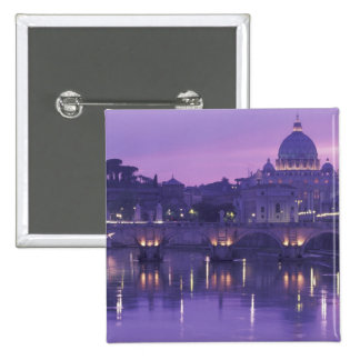 Europe, Italy, Rome. St. Peter's and Ponte Sant Pinback Button