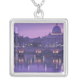 Europe, Italy, Rome. St. Peter's and Ponte Sant Square Pendant Necklace