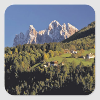 Europe, Italy, San Pietro. The Odle Group seem Square Sticker