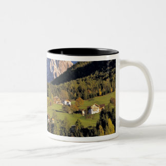 Europe, Italy, San Pietro. The Odle Group seem Two-Tone Coffee Mug