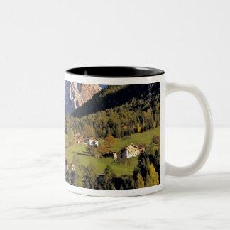 Europe, Italy, San Pietro. The Odle Group seem Two-Tone Coffee Mug