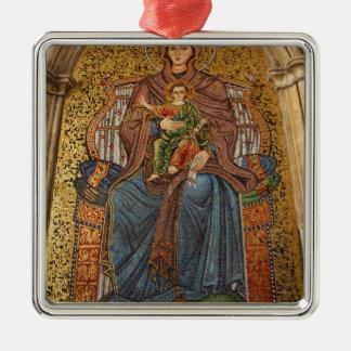Europe, Italy, Sicily, Taormina. Madonna & child Square Metal Christmas Ornament
