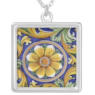 Europe, Italy, Sicily, Taormina. Traditional 4 Silver Plated Necklace