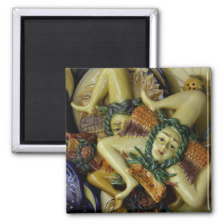 Europe, Italy, Sicily, Taormina. Traditional 9 2 Inch Square Magnet
