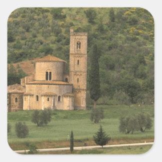 Europe, Italy, Tuscany. Abbazia di Sant'Antimo, Square Stickers