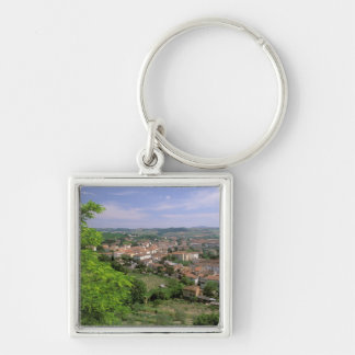Europe, Italy, Tuscany, Certaldo. Medieval hill Silver-Colored Square Keychain