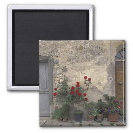 Europe, Italy, Tuscany, Chianti, Tuscan doorway; 2 Inch Square Magnet