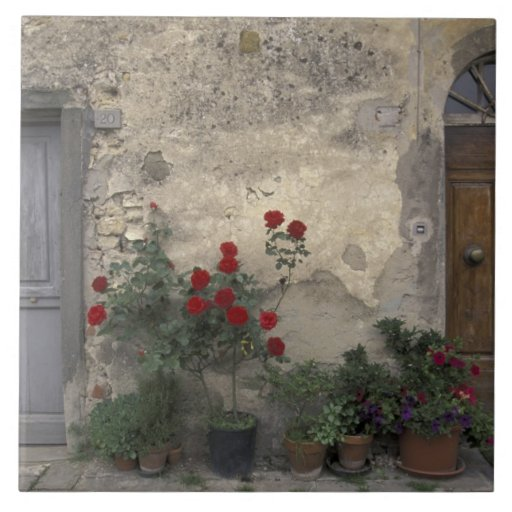 Europe, Italy, Tuscany, Chianti, Tuscan doorway; Large Square Tile