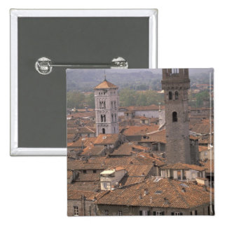 Europe, Italy, Tuscany, Lucca, Town panorama 2 Inch Square Button