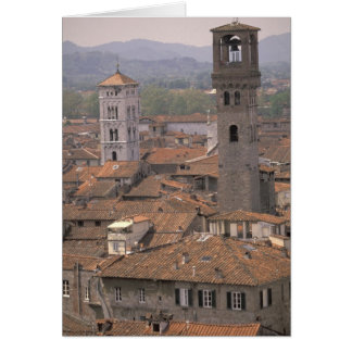 Europe, Italy, Tuscany, Lucca, Town panorama Card