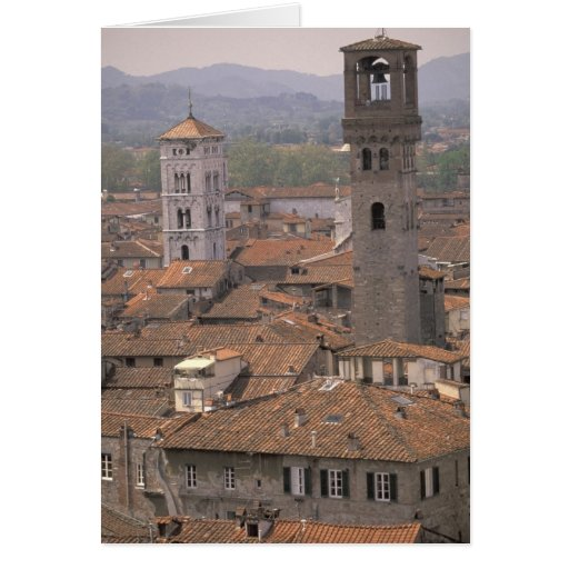 Europe, Italy, Tuscany, Lucca, Town panorama Greeting Card