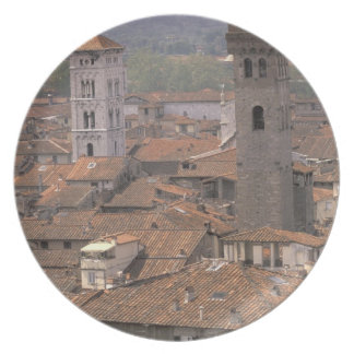 Europe, Italy, Tuscany, Lucca, Town panorama Dinner Plate