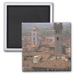 Europe, Italy, Tuscany, Lucca, Town panorama Fridge Magnet