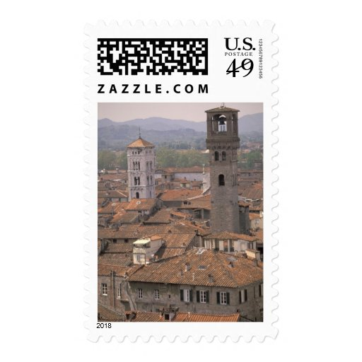 Europe, Italy, Tuscany, Lucca, Town panorama Stamp