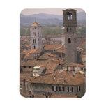 Europe, Italy, Tuscany, Lucca, Town panorama Rectangular Photo Magnet