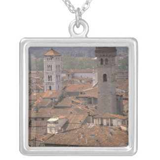 Europe, Italy, Tuscany, Lucca, Town panorama Silver Plated Necklace
