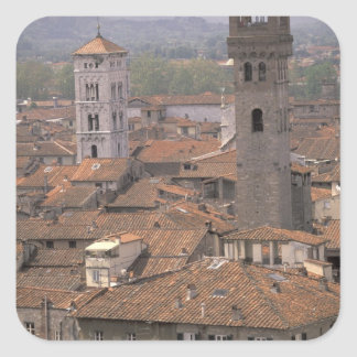 Europe, Italy, Tuscany, Lucca, Town panorama Square Sticker