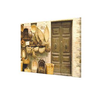 Europe, Italy, Tuscany, Montalcino. Basket Canvas Print