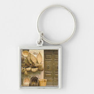 Europe, Italy, Tuscany, Montalcino. Basket Silver-Colored Square Keychain