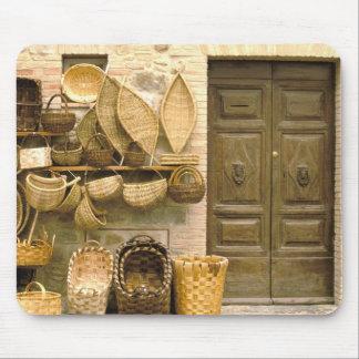 Europe, Italy, Tuscany, Montalcino. Basket Mouse Pad