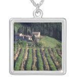 Europe, Italy, Tuscany. Scenic villa cyprus. Square Pendant Necklace