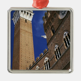 Europe, Italy, Tuscany, Siena. Torre del Square Metal Christmas Ornament