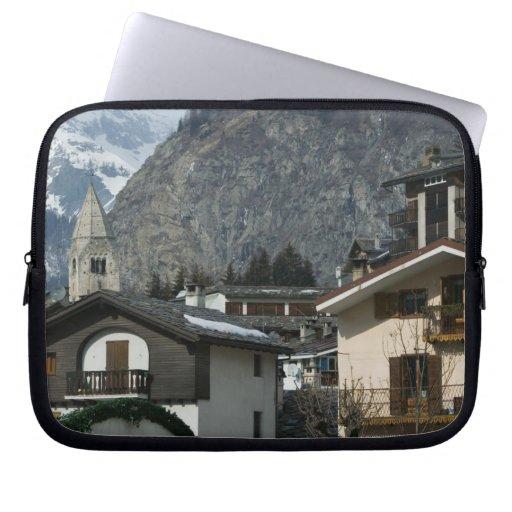 Europe, Italy, Valle d'Aosta, COURMAYEUR: Town Computer Sleeves